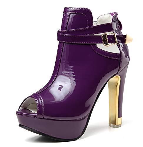 getmorebeauty Damen Pretty Lace Blumen Open Toe High Heels Stiefeletten, (Lila / Lack), 37 EU