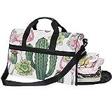 DOSHINE Bolsa de Viaje diseño de Flor, Cactus y Flor, Bolsa Deportiva de Gimnasio, Bolsa de Equipaje de Gran Capacidad para Hombres y Mujeres