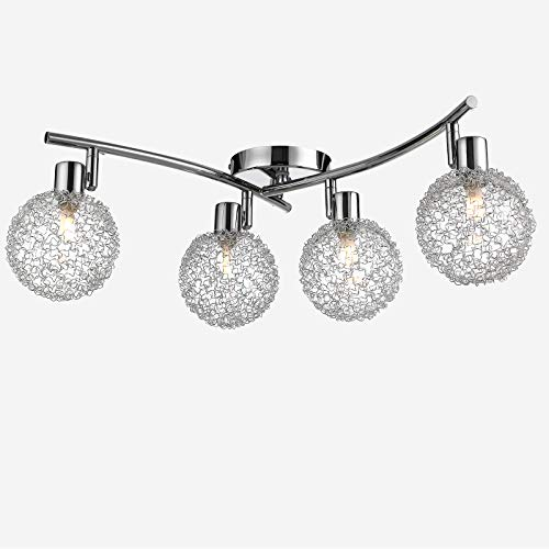 monzana LED Deckenleuchte Chrome 4 Flammig Deckenlampe Spots 360° drehbar 90° schwenkbar Lampe Strahler Wohnzimmerlampe