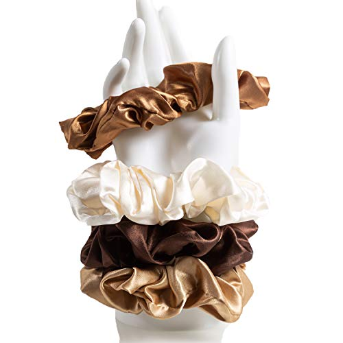 4er Set Luxuriöse Scrunchies aus Seidensatin | verschiedene Farben | wunderschönes Styling Accessoire | große elastische Trend Haargummies | Luxus Scrunchy Made In Germany