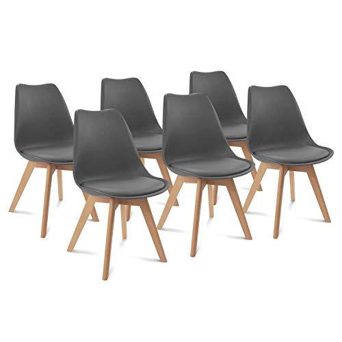 IDMarket - Lot de 6 chaises SARA Gris foncé pour Salle à Manger