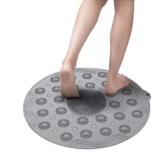 Runde Duschmatte Rutschfest Badewannenmatte mit Saugnapf, 46 × 46cm (18,1 x 18,1 inch) Duschmatten,Antibakterielle Anti-Schimmel-Weichduschmatte mit Ablaufloch,aus Silikonmaterial,Maschinenwaschbar