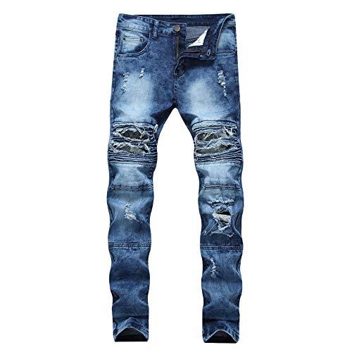 Jeans Slim Jeans Man grote werven elastische broek Casual broek Locomotive met Soft Touch (Color : Blue, Size : 30)