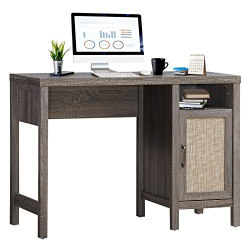 Tangkula Computer Desk with Storage Cabinet, Rustic Wooden Writing Desk Study Desk with Metal Handle, Compact Computer Desk Workstation Laptop PC Desk for Home Office (Grey Oak)