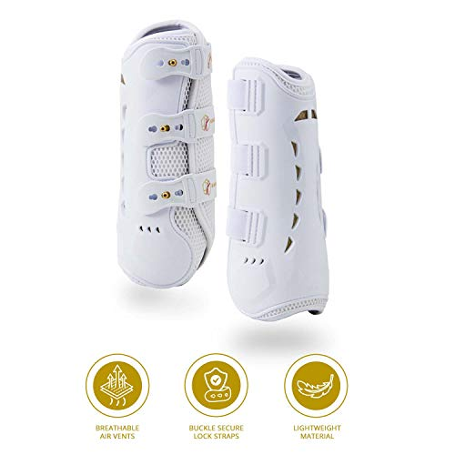 Dressage Boots for Horses by Kavallerie: Pro-K 3D Air-Mesh Horse Boots, Secure Leg Protection, Lightweight and Tough White & Black Dressage Sports Boots [White]