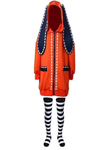 NUWIND Disfraz de anime para niñas de Halloween Yomoduki Runa Orange Rabbit Masquerade Trajes Compulsivo Gambler Mujer Sudadera con capucha con calcetines para niños