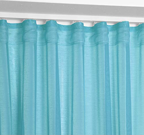 BEAUTEX Vorhang mit U-Band 140x250 cm (Farbe Wählbar) transparente Kräuselband Gardine, Dolly (Türkis)