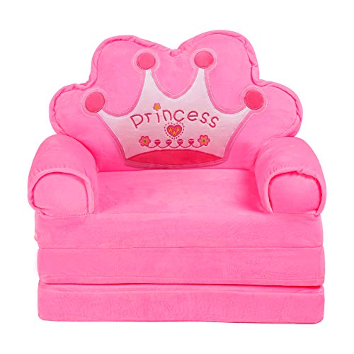 Toddlers Plush Soft Armchair Kids Flip Out Sofa Children Pull-Out Couch Mini Fold Out Bed for Kids Room (Pink)