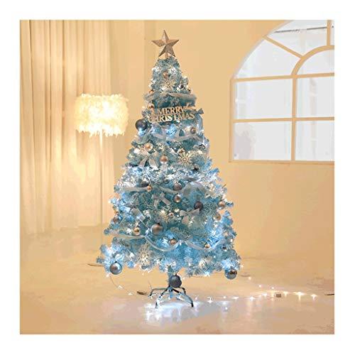 �rbol de Navidad en azul con luces LED y pie metálico