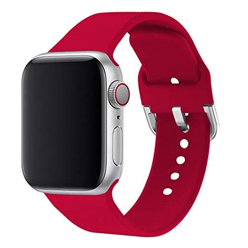 Correa para Apple Watch Band 44mm 40mm Para Iwatch Pulsera Serie 5 4 3 2 1 42mm 38mm Accesorios de correa de reloj-Rosa rojo, 38MM-SM