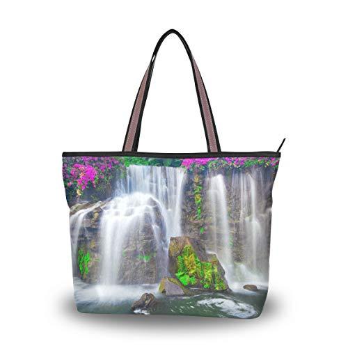 Ahomy - Bolsa de hombro con diseño de cascada de flores en...