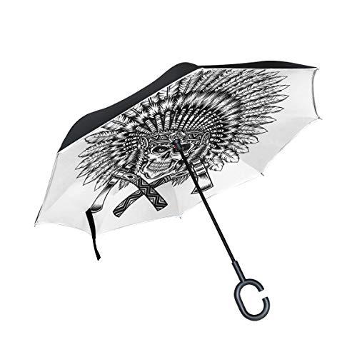 XiangHeFu Doble Capa Invertida Umbrellas Tribu Patrón Pluma Tocado Cráneo Hacha Plegable...