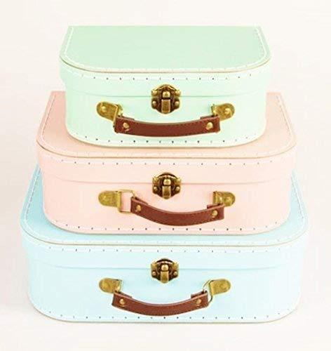 Sass & Belle - Juego de 3 cajas de almacenamiento para maletas estilo retro, color azul, verde y rosa
