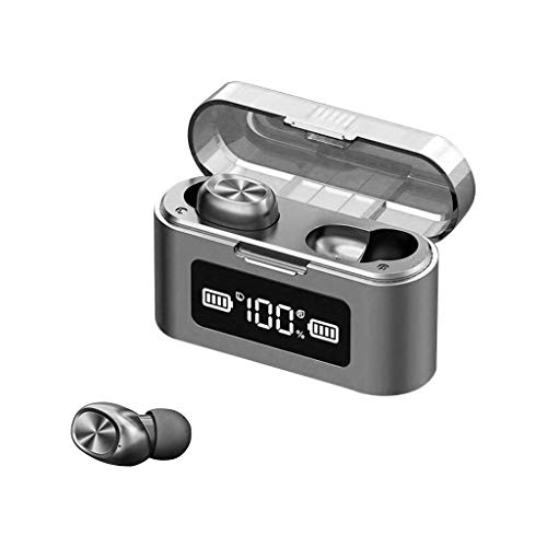 Marxways Drahtloser Bluetooth-V5.0-LED-Kopfhörer mit 2000-mAh-Powerbank-Stereoanlage und Mikrofon, TWS-Stereo-Geräuschunterdrückung IPX7 Wasserdichter integrierter In-Ear-Mikrofonkopfhöre