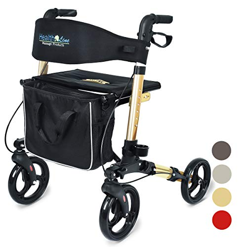 Health Line Massage Products Compact Rollator for Seniors Aluminum SideFold Rolling Walker with Paded Seat Bright Champagne