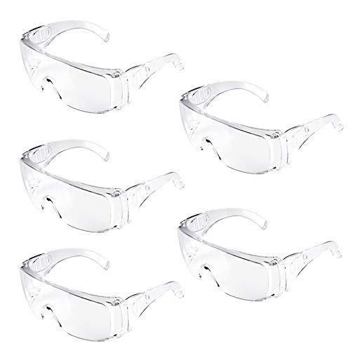 Adoric Schutzbrillen, Schutzbrille Vollsichtbrillen Professionelle Überbrille Arbeitsschutzbrille gegen Staub und TröpfchenIdeal für Baustelle, Werkstatt, Garten und Radsport-5 Pack