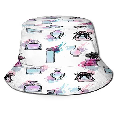 YZBEDSET Sombrero Pescador Unisex,Patrones Sin Fisuras con Hermosas Botellas Perfume para Mujer,Plegable Sombrero de Pesca Aire Libre Sombrero Bucket Hat para Excursionismo Cámping De Viaje Pescar