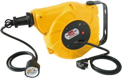 Brennenstuhl Kabeltrommel Automatik IP20 / Automatischer Kabelaufroller (9+2m Kabel, für Wand- und Deckenmontage) gelb