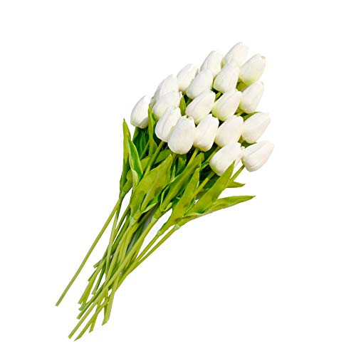 Only Art 20pcs Artificial White Tulip Flowers with Soft Latex