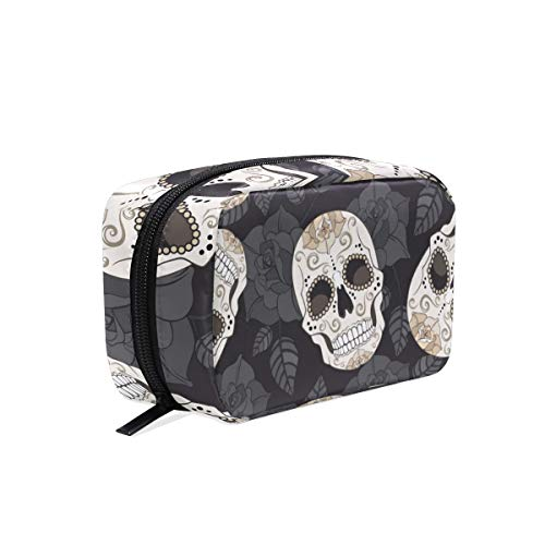 Mnsruu Trousse de maquillage Motif crâne Jour des morts Halloween