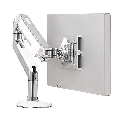 Humanscale M8 Monitor Arm - Bolt Through Mount with Base, Polished Aluminum with White Trim Plus Jestik Microfiber Cloth - Value Bundle