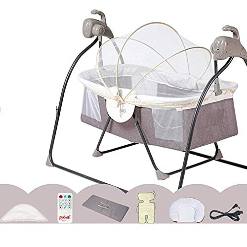 Bebé cuna eléctrica cama recién nacido silla mecedora mecedora canasta para dormir bebé nido de 5 velocidades de sacudida de 5 velocidades con control remoto bluetooth con almohada de mosquitera, gris