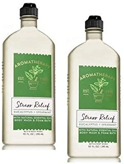 Bath and Body Works 2 Pack Aromatherapy Stress Relief Eucalyptus & Spearmint Shower Gel. 10 Oz.