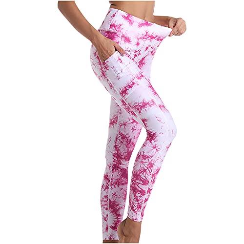 ZEZKT Pantalones de Yoga para Mujer Pantalón Cropped con Bolsillos Pantalones Deportivos Leggings Leggings de Entrenamiento Mallas de Deporte de Mujer