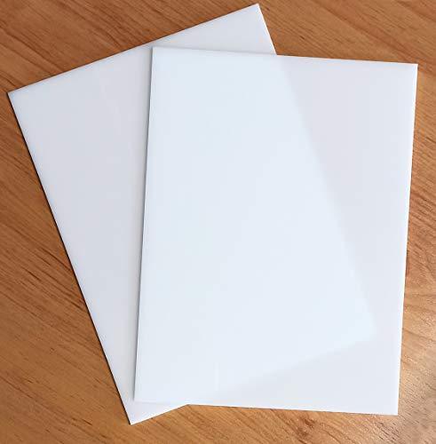 Placa de Metacrilato Blanco Opal 3 mm | Plancha Lámina de Plástico Rígido Blanco (2 UDS, A4-21x29,7 cm)