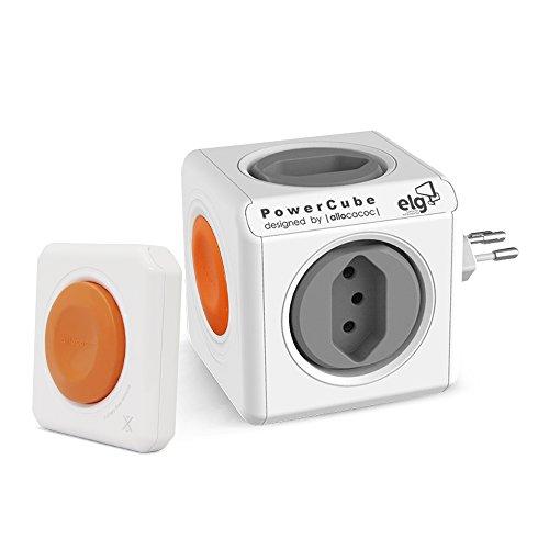 Multiplicador de Tomadas Powercube c/ Controle Remoto e 4 Tomadas, Bivolt, ELG, PWC-RM4CR, Laranja e Branco