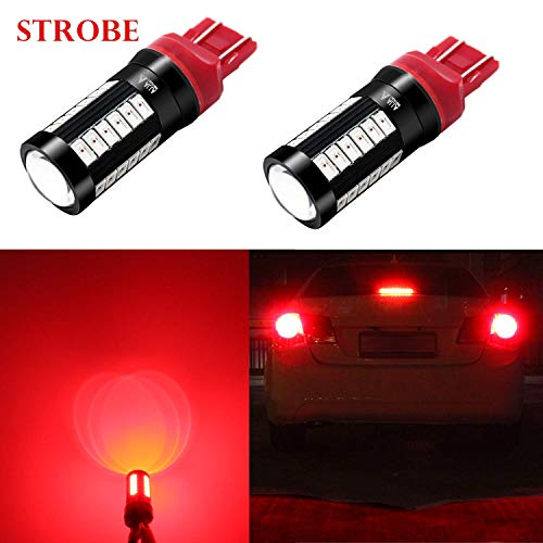Alla Lighting T20 Base 7440 7443 Strobe LED Brake Lights Bulbs, Red Flashing Stop Lamps 7441 7443LL 7440LL W21W 992 2800 Lumens Xtreme Super Bright 12V 5730 33-SMD Replacement