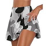 N\P - Pantaloncini da donna casual mimetici doppi, a asciugatura rapida, leggings sportivi C M