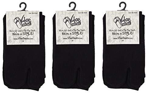 3 Pairs V-Toe Over The Knee Flip-Flop Socks Black Solid Fun Warm Tabi Toe Socks