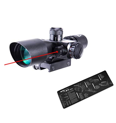 """Pinty 2.5-10x40 Red Green Illuminated Mil-dot Tactical Rifle Scope with Red Laser Combo & Pinty Gun Cleaning Pad Gun Mat Double Thickness Cleaning 12"""" x 36"""""""