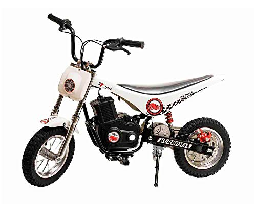 Burromax White TT250 Electric Motorcycle Dirt Bike for Kids | Fast and Long Lasting 24V 250W Charge | Ride On Mini Pocket Bike for Street & Off Road