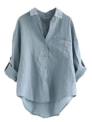 Minetom Femme Lin Chemise à Manches Longues Décontractée Retroussables Col V Blouse Élégant Couleur Unie Boutonné Chemisier Été T-Shirt Bleu Taille Unique (FR34-FR46)