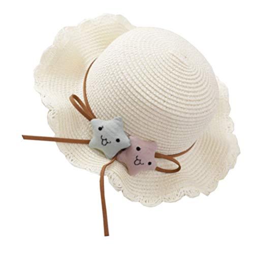 Amosfun Kleinkind Baby Mädchen Stroh Sonnenhut Einstellbare Sonnenblende Hut Strand Sommer Hut Kappe für Kinder Im Freien Weiß