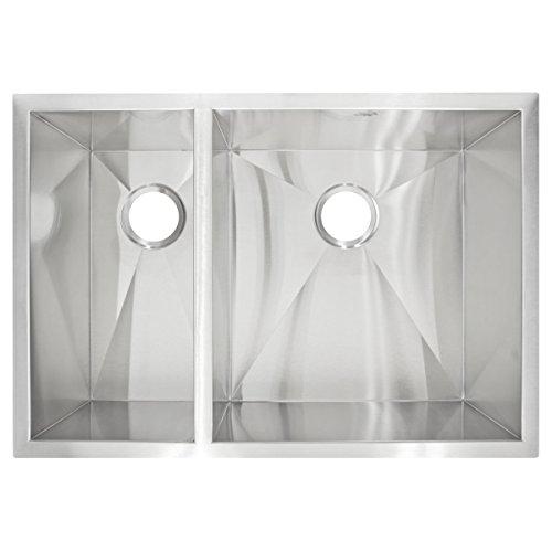 LessCare LP3L Fregadero de cocina de acero inoxidable con doble lavabo y radio cero, color gris