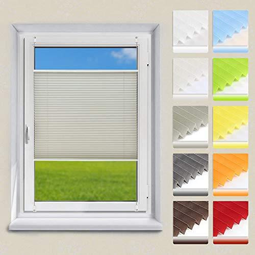 OUBO Plissee Klemmfix Faltrollo ohne Bohren Jalousie mit Klemmträger (Grau, B80cm x H100cm) Sonnenschutz und Sichtschutz Easyfix lichtdurchlässig Rollo für Fenster & Tür
