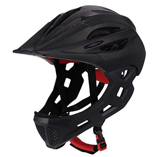 Matedepreso, casco da bicicletta integrale staccabile per mountain bike, bici da strada, casco da equitazione per bambini, Non null, Nero , Taglia libera