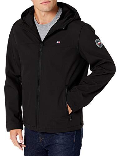 Tommy Hilfiger Men's Lightweight Performance Softshell Hoody Jacket, Black, XX-Large