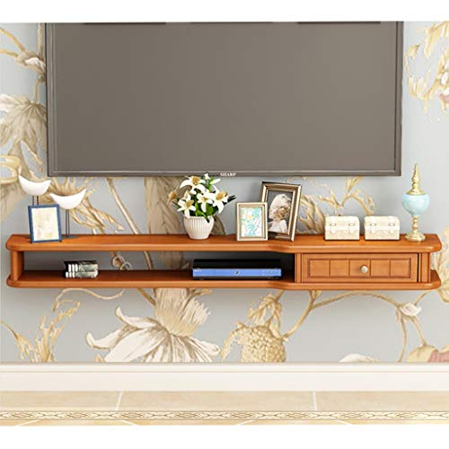 Muur gemonteerde Audio/Video Console Retro Pine TV kabinet Console Home Meubels TV Stand Open Compartiment en Display Planken voor Ruime Opslag Ruimte TV Stand Opslag Media TV Rack 100cm Yellow walnut color