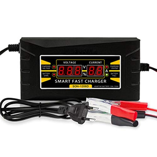 duhe189014 Cargador De Batería Arrancador De Coche Batería De Plomo-ácido del Automóvil del Automóvil Eléctrico 12V6A Arranque Batería para Vehículo con Pinzas Inteligentes, Bateria Externa
