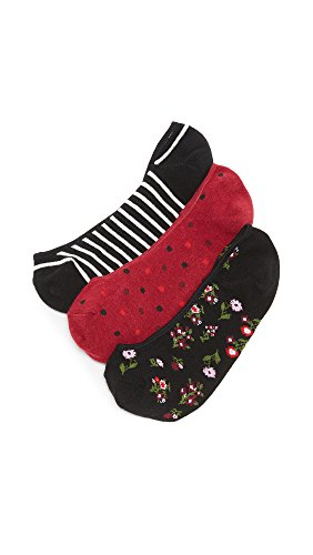 Kate Spade New York Women's Bloom Floral 3 Pack Sock Set, Black, One Size