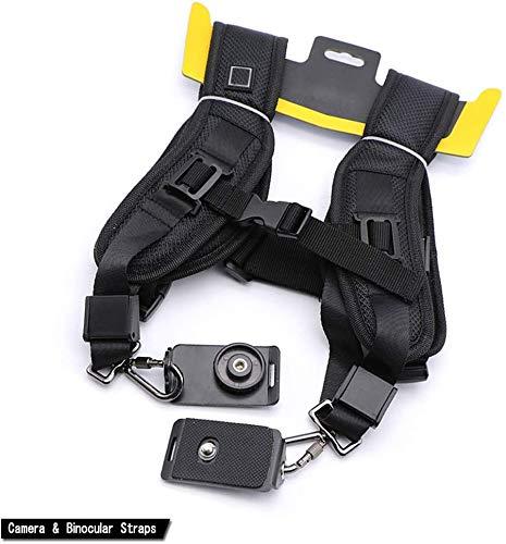Dubbele schouderriem holster, gesp Mount clip riem clip holster houder, verstelbare camera riem en bestand riem voor Canon-camera (zwart)
