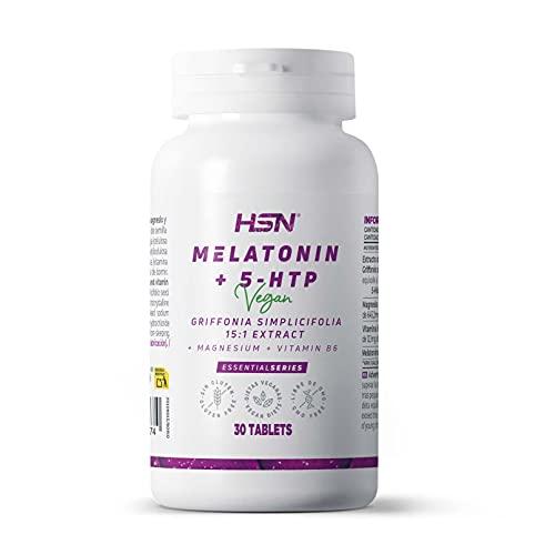 Melatonina Pura 1,9 mg con 5 HTP + Magnesio + Vitamina B6 de HSN | Suplemento Para Dormir bien | Sueño de Calidad y Reparador | Vegano, Sin Gluten, Sin Lactosa | 30 Tabletas