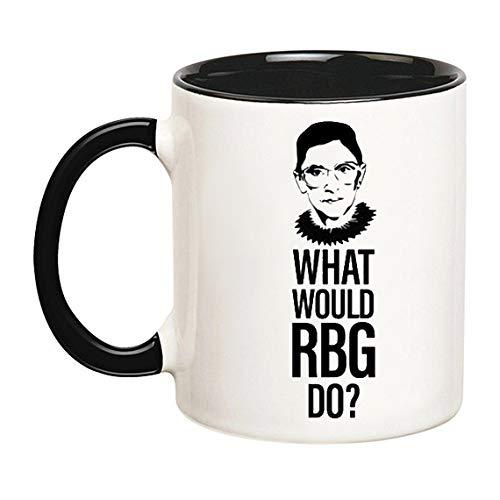 AliceHitMood - What Would RBG Do? | Ruth Bader Ginsburg | Supreme Court | Feministische Tasse (schwarz), 325 ml Keramik-Kaffeetasse/Tasse, Geschenkpapier erhältlich