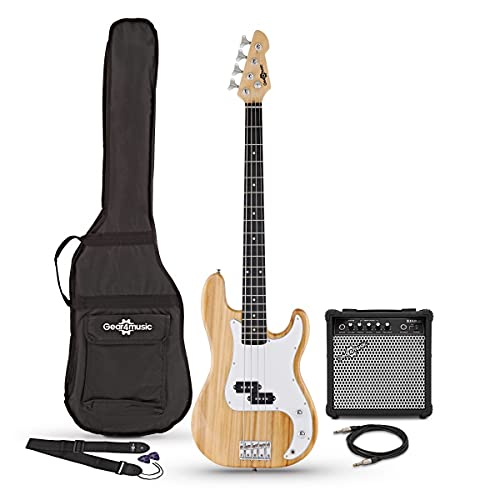 Bass Guitar LA by Gear4music Natural with 15W Amp Gig Bag and Cable