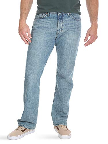 Wrangler Authentics Men's Regular Fit Comfort Flex Waist Jean, Chalk Blue, 34W x 32L