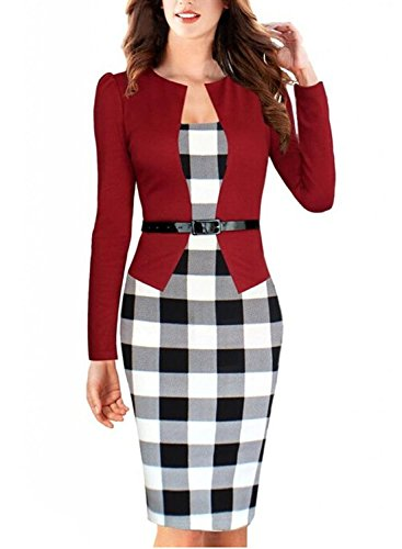 Babyonline Women's OL Long Sleeve Bodycon Office Pencil Dress,Red,Small, Red, Small